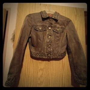 Vintage Genuine Leather Cropped Jacket